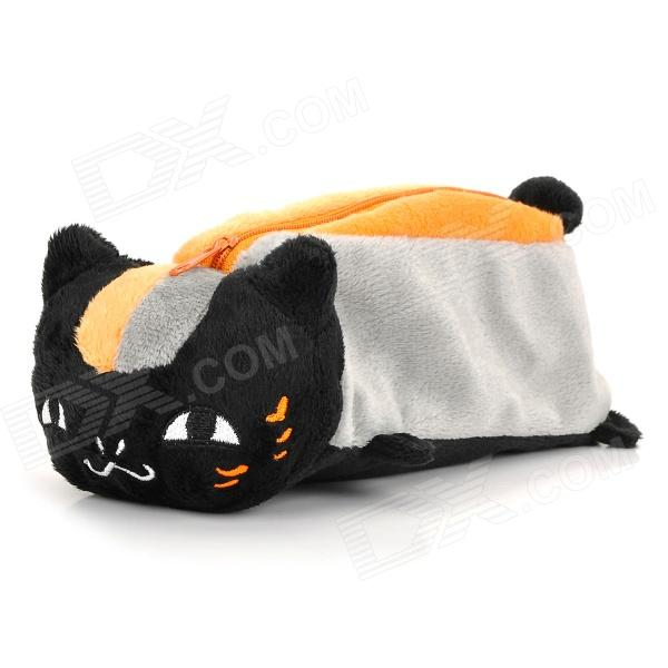 Black Cat Pencil Bag Pouch - Black + Orange cute smile face expression round erasers yellow 4 piece random style