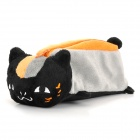 Black Cat Pencil Bag Pouch - Black + Orange