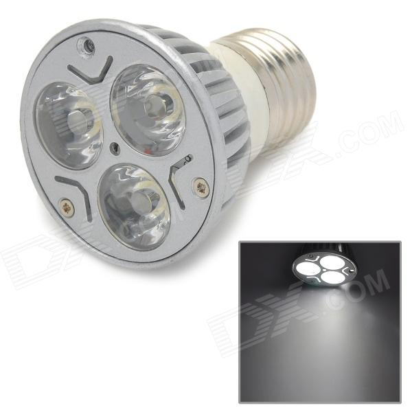 DB-YE302 E27 3W 240lm 6500K 3-LED White Spotlight - Silver + White
