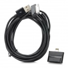 8-Pin Lightning Male to 30-Pin Female Adapter + USB Male to 30 Pin Lightning Data Cable - Black (3M)