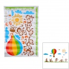 Cartoon Monkeys + Birds + Sun + Hydrogen Balloon Pattern Decorative Wall Sticker (140 x 100cm)