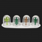 Cartoon Four Seasons Plants Style Plastic Seasoning Bottle - Green + Brown (4 PCS)