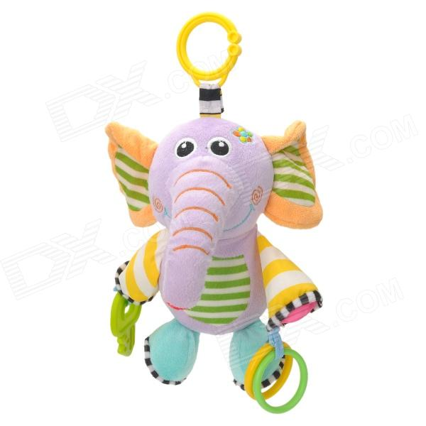 Cute Elephant Sound Bell Polyester Fiber Hanging Doll Toy for Babies - Light Purple + Green + Yellow