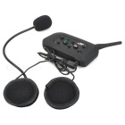 Water Resistant Multi-Interphone 6 Riders Motorcycle Helmet Wireless Bluetooth Earphone - Black