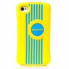 BASEUS CUAPIH4S-LI0Y Cute Protective Silicone Case w/ Screen Film for Iphone 4 / 4S - Yellow + Blue