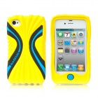 BASEUS CUAPIH4S-CI0Y Cute Protective Silicone Case w/ Screen Film for Iphone 4 / 4S - Yellow + Blue