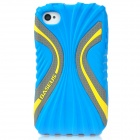 BASEUS CUAPIH4S-CI03 Cute Protective Silicone Case w/ Screen Film for Iphone 4 / 4S - Blue + Yellow