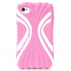 BASEUS CUAPIH4S-CI04 Cute Protective Silicone Case w/ Screen Film for Iphone 4 / 4S - Pink + White