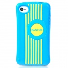 BASEUS CUAPIH4S-LI03 Cute Protective Silicone Case w/ Screen Film for Iphone 4 / 4S - Blue + Yellow