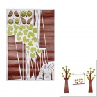 Owl + Trees w/ Heart-shape Leaves Removable Decorative Wall Sticker - Coffee + Green (180 x 120cm)