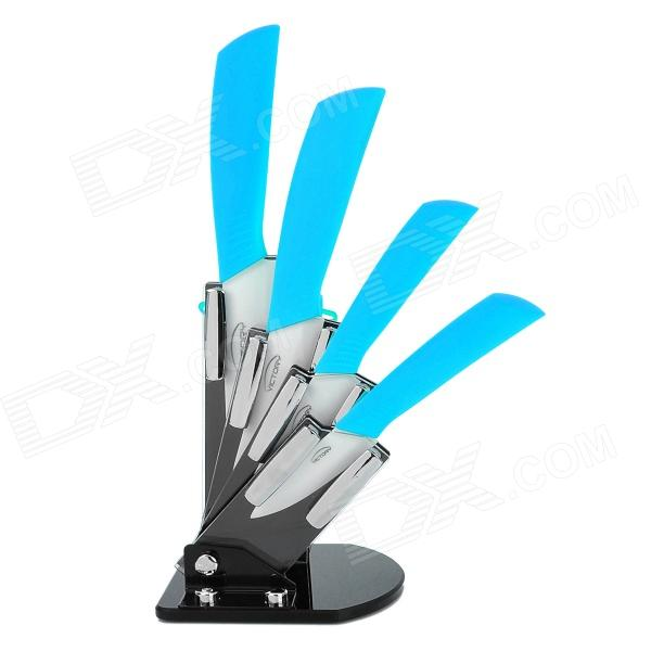 Victory CKSA3456PB 6-in-1 3 4 5 6 Kitchen Ceramic Knives w/ Holder + Peeler - Blue + White bestlead 4 ceramics knife 6 5 kitchen knife peeler board holder set white yellow