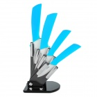 "Victory CKSA3456PB 6-in-1 3"" 4"" 5"" 6"" Kitchen Ceramic Knives w/ Holder + Peeler - Blue + White"