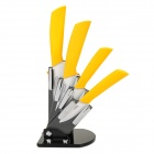 "Victory CKSA3456PB 6-in-1 3"" 4"" 5"" 6"" Kitchen Ceramic Knives w/ Holder + Peeler - Yellow + White"