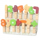 Lovely Arabic Numerals and Symbols Style Wooden Photo Memo Clips w/ Rope - Multicolored