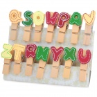 Lovely Letters Style Wooden Photo Memo Clips w/ Rope - Multicolored