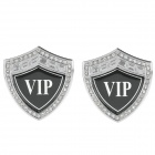 VIP Pattern Alloy Rhinestone Car Body Sticker - Silver + Black (2 PCS)