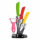 "TJC 5-in-1 3"" 4"" 5"" Kitchen Ceramic Knives w/ Holder + Peeler - Yellow + Green + Red + Pink + Black"