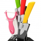 "5-in-1 3"" 4"" 5"" Kitchen Ceramic Knives w/ Holder + Peeler - Yellow + Green + Red + Pink + Black"