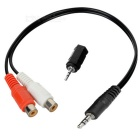 2-in-1 2.5mm Plug to 3.5mm Jack Converter + 3.5mm Plug to 2-RCA Jack Audio Converter Cable - Black