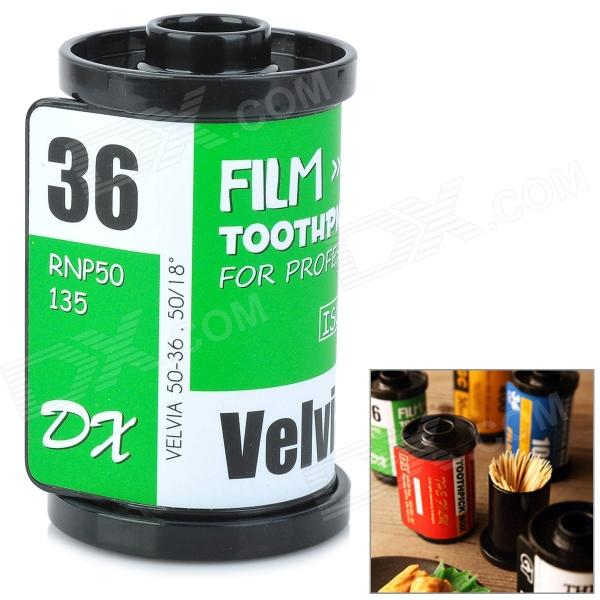 Creative Film Cartridge Style ABS Toothpick Case - Green + White + Black creative 100 euro note style door stopper guard green white