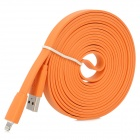 USB to 8-Pin Lightning Male to Male Data / Charging Flat Cable for iPhone 5 / iPad 4 - Orange (3M)