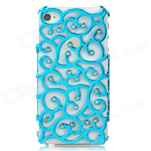 Flower Style Protective Plastic Rhinestone Back Case for Iphone 4 / 4S - Blue