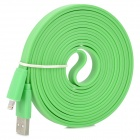 USB to 8-Pin Lightning Male to Male Data / Charging Flat Cable for iPhone 5 / iPad 4 - Green (3M)
