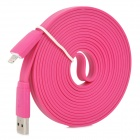 USB to 8-Pin Lightning Male to Male Data / Charging Flat Cable for iPhone 5/iPad 4 - Deep Pink (3M)