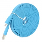 USB to 8-Pin Lightning Male to Male Data / Charging Flat Cable for iPhone 5/iPad 4 - Light Blue (3M)