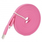 USB to 8-Pin Lightning Male to Male Data / Charging Flat Cable for iPhone 5 / iPad 4 - Pink (3M)