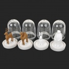 Cartoon Animal Park Plastic 4-in-1 Condiment Bottles Set - White + Brown