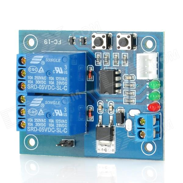 FC-16-K 2-Channel Self-Lock Relay Module - Blue 8 channel 5a high level trigger solid state relay module board 3 32v power supply and trigger voltage