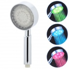 0802 6-LED RGB Light Water Temperature Sensor Shower Head - Silver