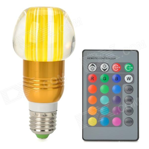 Apple Style E27 3W 270lm LED RGB Light Crystal Lamp w/ Controller - Yellow + Golden + Silver