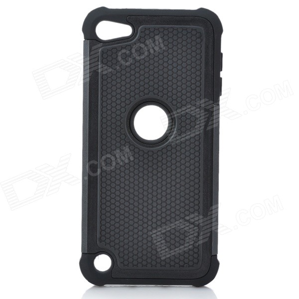 Protective Plastic + Silicone Back Case for Ipod Touch 5 - Black