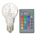 E27 3W 270lm LED RGB Light w/ Controller - Translucent (85~265V)