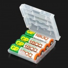 4 x AA / 4 x AAA Battery Holder Cases - Transparent White + Translucent Purple / Yellow (3 PCS)