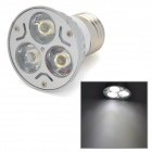 E27 3W 180~210lm 6500K 3-LED White Light Bulb - Silver + White