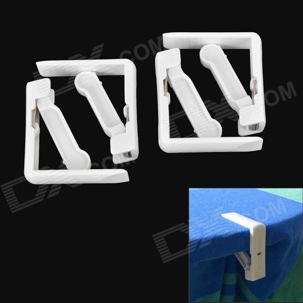 KOMI NST-375 Tablecloth Spring Loaded Clamp Holder Clips - White (4 PCS)