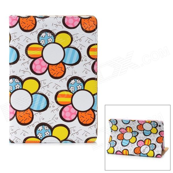 Cute Flower Pattern Protective PU Leather Case for Ipad MINI - White + Blue + Yellow g case slim premium чехол для apple ipad mini 4 white