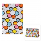 Cute Flower Pattern Protective PU Leather Case for Ipad MINI - White + Blue + Yellow