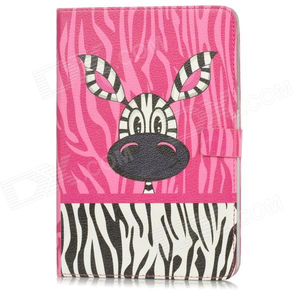 Protective Cute Cartoon Zebra Pattern PU Leather Case for Ipad MINI - Pink cute flower pattern protective pu leather case for ipad mini white blue yellow