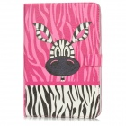 Protective Cute Cartoon Zebra Pattern PU Leather Case for Ipad MINI - Pink