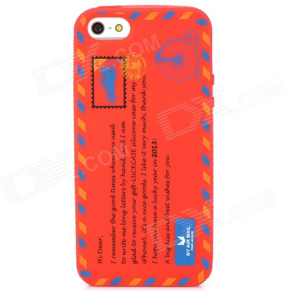 Protective Envelope Pattern Silicone Case for Iphone 5 - Big Red stylish bubble pattern protective silicone abs back case front frame case for iphone 4 4s
