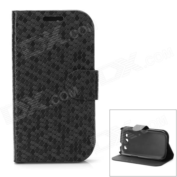Diamond Pattern Protective PU Leather Case for Samsung Galaxy S3 i9300 - Black lichee pattern protective pu leather case stand w card slot for samsung galaxy s3 i9300 black