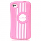 BASEUS CUAPIH4S-LI04 Cute Protective Silicone Case w/ Screen Film for Iphone 4 / 4S - Pink + White