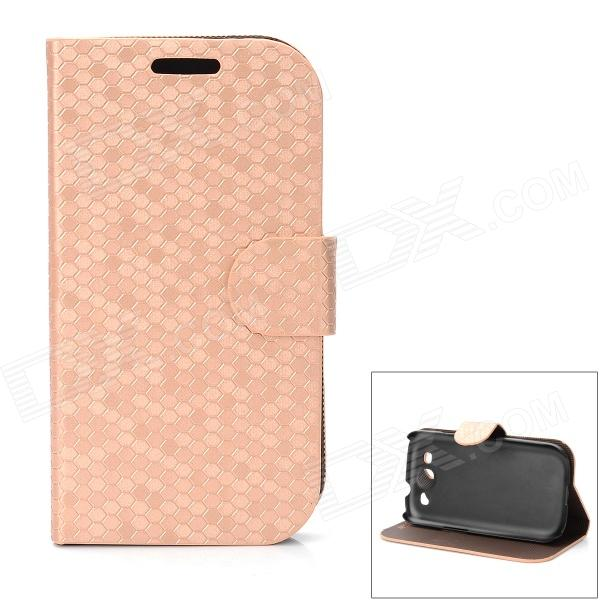 Diamond Pattern Protective PU Leather Case for Samsung Galaxy S3 i9300 - Beige cool snake skin style protective pu leather case for samsung galaxy s3 i9300 brown