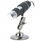 U203 1~50/200X USB Digital Microscope Magnifier w/ 8-LED White Light - Black + Silver