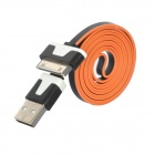 USB 2.0 Data / Charging Flat Cable for iPhone 4S / iPhone 4 - White + Black