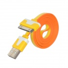 USB 2.0 Data / Charging Flat Cable for iPhone 4S / iPhone 4 - Yellow + White